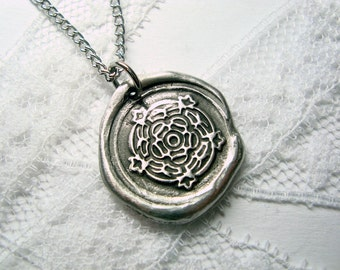 Tudor rose wax seal stamped necklace as seen on Texas Women on CMT