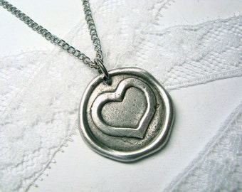 Simple heart wax seal stamped necklace