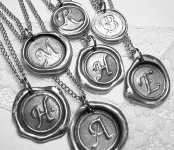 Ritzy Misfit Wax Seal Pendant MINI Letter of your choice WITH chain  a b c d e f g h i j k l m n o p q r s t u v w x y z
