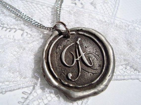 """Darker and more """"antiqued"""" Monogram Wax Seal Necklace, letter of your choice"""