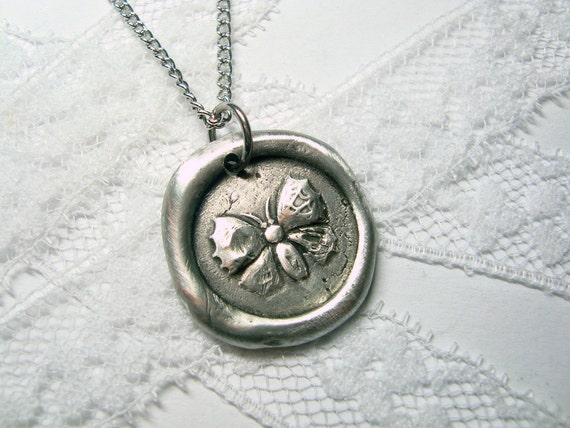 Butterfly necklace as seen on CMT Texas Women, wax seal pendant