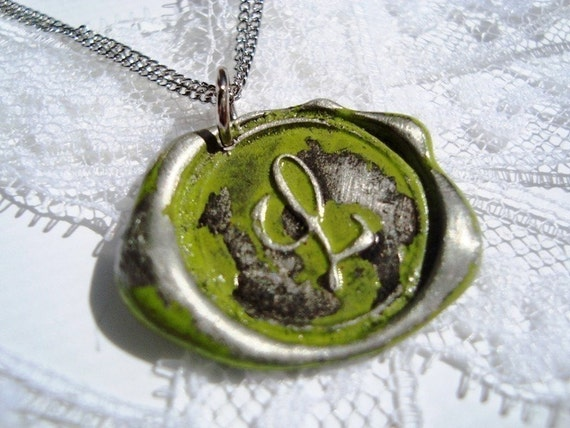 Chartreusey limey colored letter of your choice monogrammed initial wax seal pendant a b c d e f g h i j k l m n o p q r s t u v w x y z