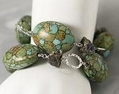 Mosaic Turquoise Wrap Bracelet Necklace