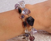 Violet Lightning Bracelet - Tourmaline, Fluorite, and Violet Blue Quartz