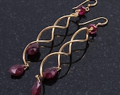 Tourmaline and Gold Spiral Drop Earrings