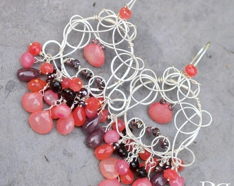 Interstellar Peach Chalcedony Earrings