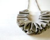 linen ruffle necklace in grey. antique bronze chain.