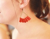 linen ruffle earrings in paprika. available in several other colors.