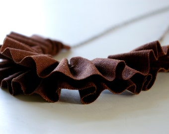 Linen ruffle necklace in chocolate brown.