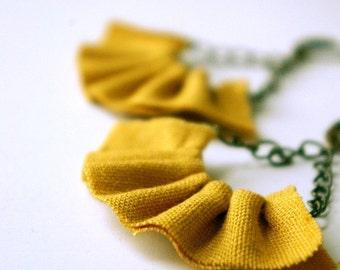Linen ruffle earrings in mustard yellow.
