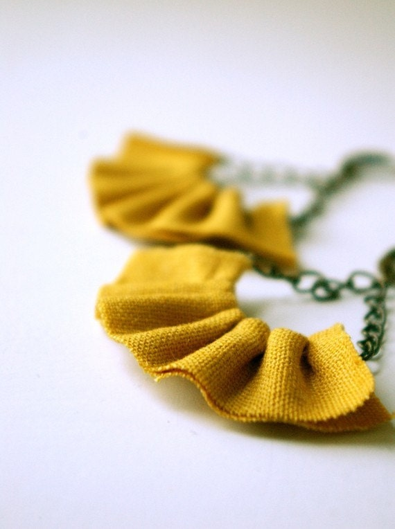 linen ruffle earrings in mustard yellow. available in several other colors.