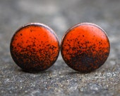 Burnt Orange/Black Enamel Stud Earrings (3/8 inch)