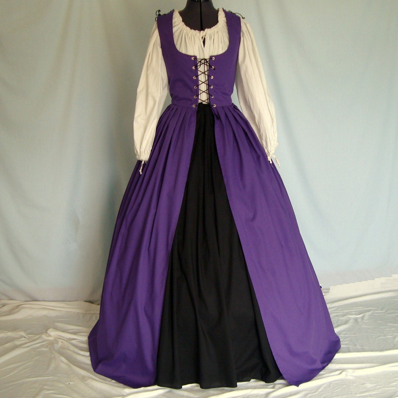Renaissance Dress Irish Overdress With Skirt Choose Your Own