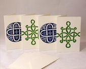 Blueberry and Lime Celtic handmade linocut greeting cards- Set of 4