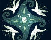 8x10 Fine Art Graphic Design Print Skull and Doves
