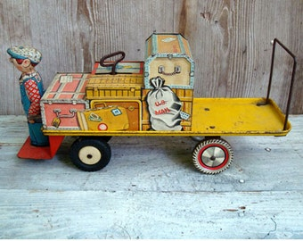 Unique Art TIN wind-up BAGGAGE TRUCK 1940s