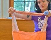 100% Cotton Reusable Market Library Travel Tote Bag Peach Flowers