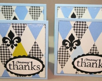 "Halrequin Patterned  - Thank You - Mini Note Card - Set of 4 Thank You - 3"" x 3"" - With Envelopes - Etsy Sellers - Packaging"