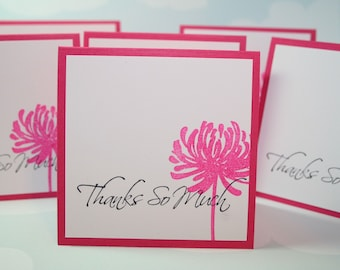 Thanks So Much - Mini Note Card - Pretty Pink - Set of 6 - Thank You Cards