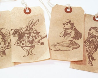 Alice In Wonderland Vintage Shipping Tags - Set A