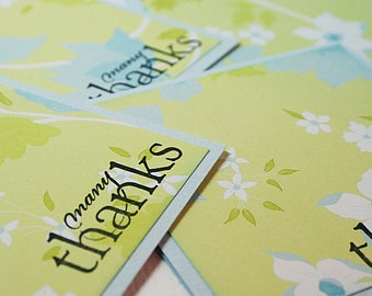 Floral Many Thanks Mini Note Card Set of 4