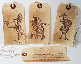 Queen Of Hearts Made Some Tarts Vintage Shipping Gift Tag - Set of 4 - Alice In Wonderland