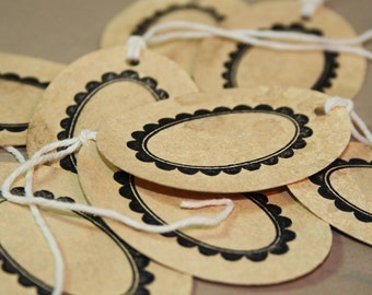 Vintage Inspired Oval Tag - Coffee Stained - Gift Tag (Set of 8) -  Rustic Paper Tag