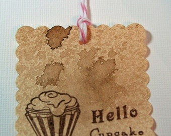 Hello Cupcake Gift Tags Vintage Style(Set of 4) Cupcake Gifts, Parties, Handmade Gift Tags, Food Labels, Food Gifts, Baking Tags