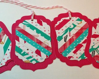 Pink and Teal Gift Tag Hand Pieced Labels (Set of 4)