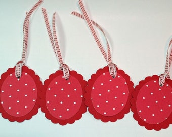 Oval Scallop Gift Tag - Red & White Polka Dot Print Red Background (Set of six)