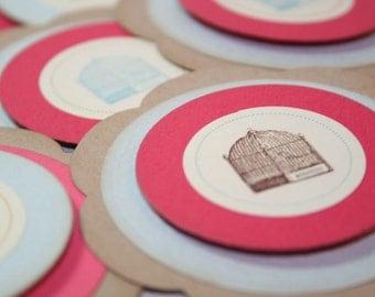 Layered Birdcage Elemental Embellishment Gift Tag Set