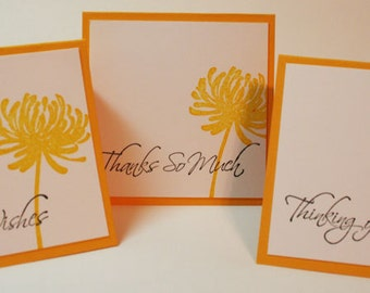 Assorted Mini Note Cards  Yellow Mixed Greeting Card Mini Set of 6 - Best Wishes, Thinking Of You, Thank You