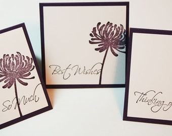 Purple Plum Mixed Mini Greeting Card Set of 6 - Best Wishes, Thank You