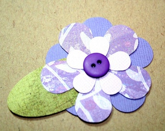 Pretty Purple Flower with button center Embellishment Gift Tag  Set