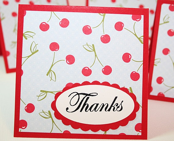 Cherry Thanks Mini Note Card Set of 4 Envelopes Included