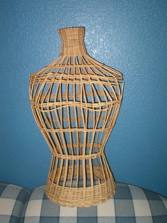 Vintage Wicker Mannequin Torso Dress Form By