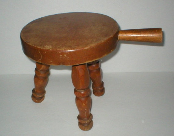Milking Stool Wood Three Legs With Handle By