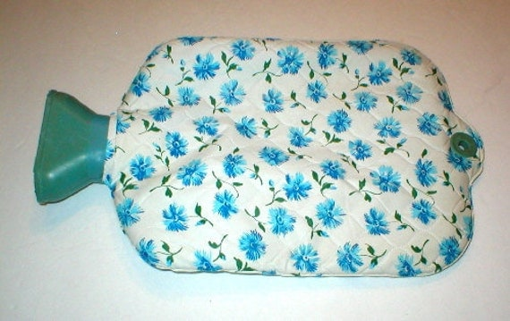 RESERVED FOR GEORGE - Hot Water Bottle Shabby Cottage Chic Blue Flowers
