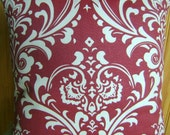 Reserved for Amy-Set of Two - Spice Red Damask Pillow Cover- 20 Inch