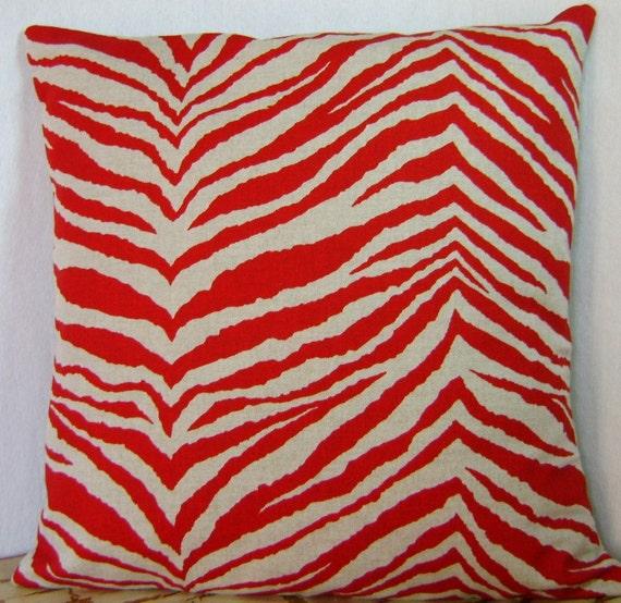Pillow Cover - Lipstick Jungle - Red Zebra - 16 Inch