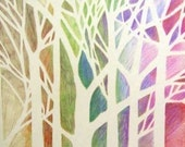 Linden Tree ACEO - pastel colors - 2.5 x 3.5 inches