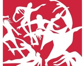 6 Gift Tags - Nine Ladies Dancing - Christmas - 3x3 in - heavy cardstock - brilliant colors