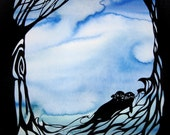 Sea and Sky Ketubah - Silhouette Trees Otters and a Bat