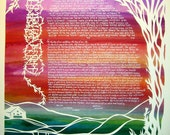 Papercut Artwork and Calligraphy -  Spring Sunset Ketubah - Song of Songs - vines