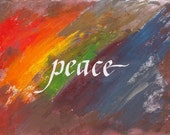 Peace Card - Holidays - rainbow  swirls with gold - 5 x 7 inches - hand painted with gold ink