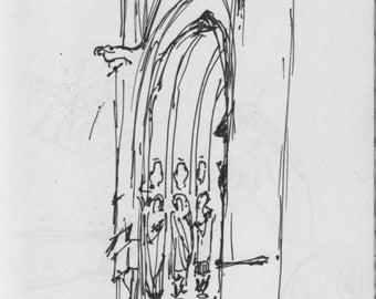 NYC Neighborhoods Sketch - St John the Divine Cathedral - 6x9 inch print of original pen sketch