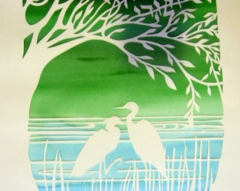 Anniversary Papercut Pair - Herons and Tree of Life