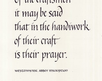 Craftsmen quotation - calligraphy