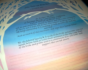Quaker Wedding Certificate - Colors of the Sky