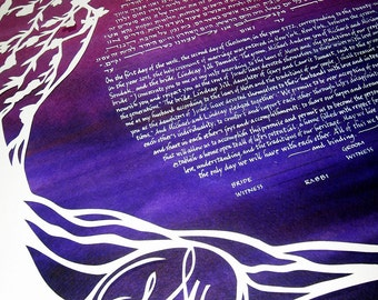 Cherry Tree Ketubah - handcut papercut on deep purple and rose background - calligraphy